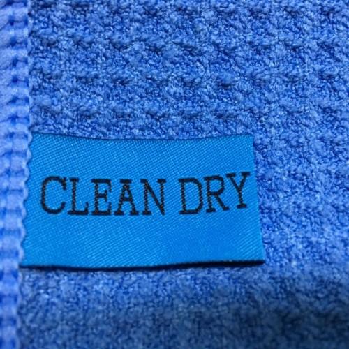 Droogdoek waslabel Clean Dry. droogdoeken van clean dry voor ramen wassen of interieur schoonmaken.